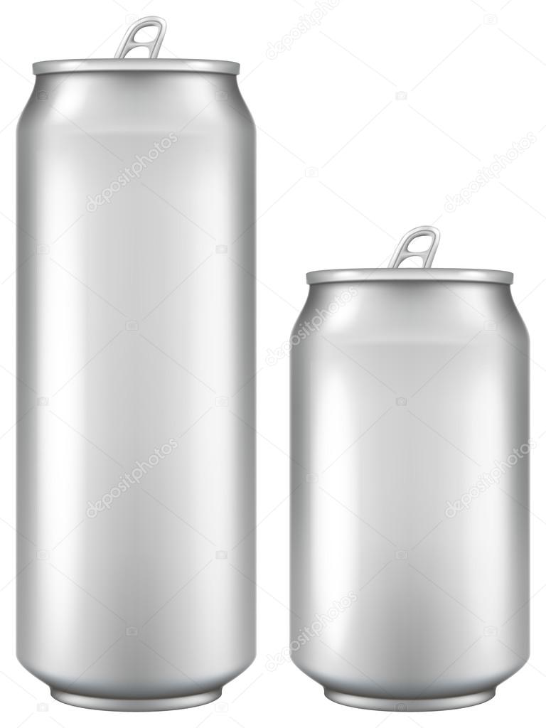 Aluminum beer / soda can with blank surface in two sizes