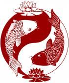 Photo Yin Yang Koi fish vector illustration.
