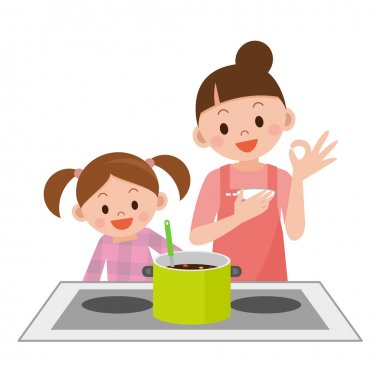 Mother and daughter to cook