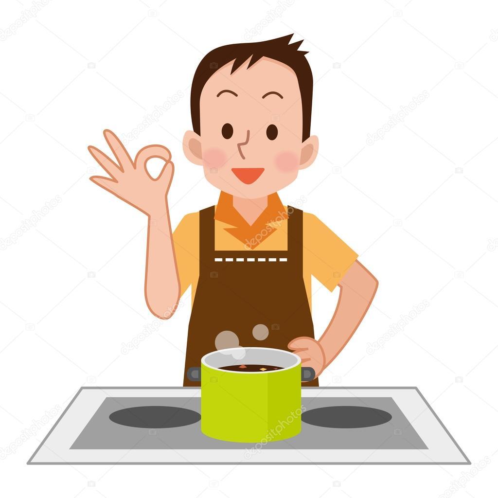 Men Cooking Cartoon Vector Clipart - FriendlyStock