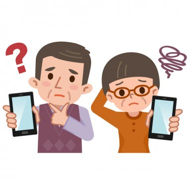 Senior to worry and smartphone