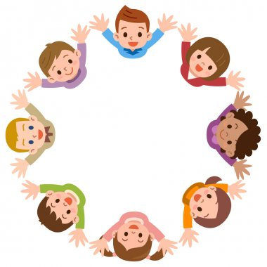 Illustration of the kids forming a circle