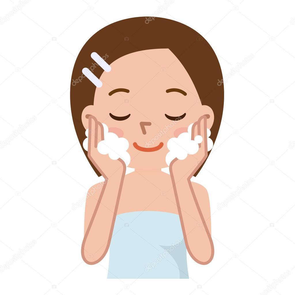 Belle femme de laver son visage image vectorielle - Dessin se laver ...