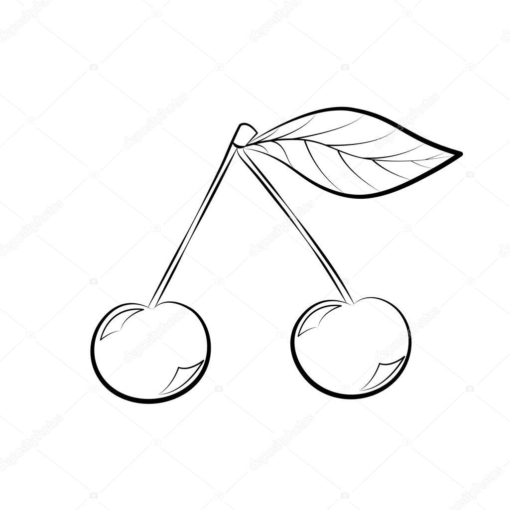 Zwart Wit Cartoon Vectorillustratie Van Kersen Fruit Eten Object