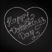 Valentinstag-Grußkarte mit Text und Herz auf schwarzem Kreidegrund. Vektorillustration.
