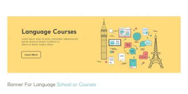 Web-Banner, poster for language school or courses. Made in vector in flat line style. Perfect for language web-site. With Chinese text Hello