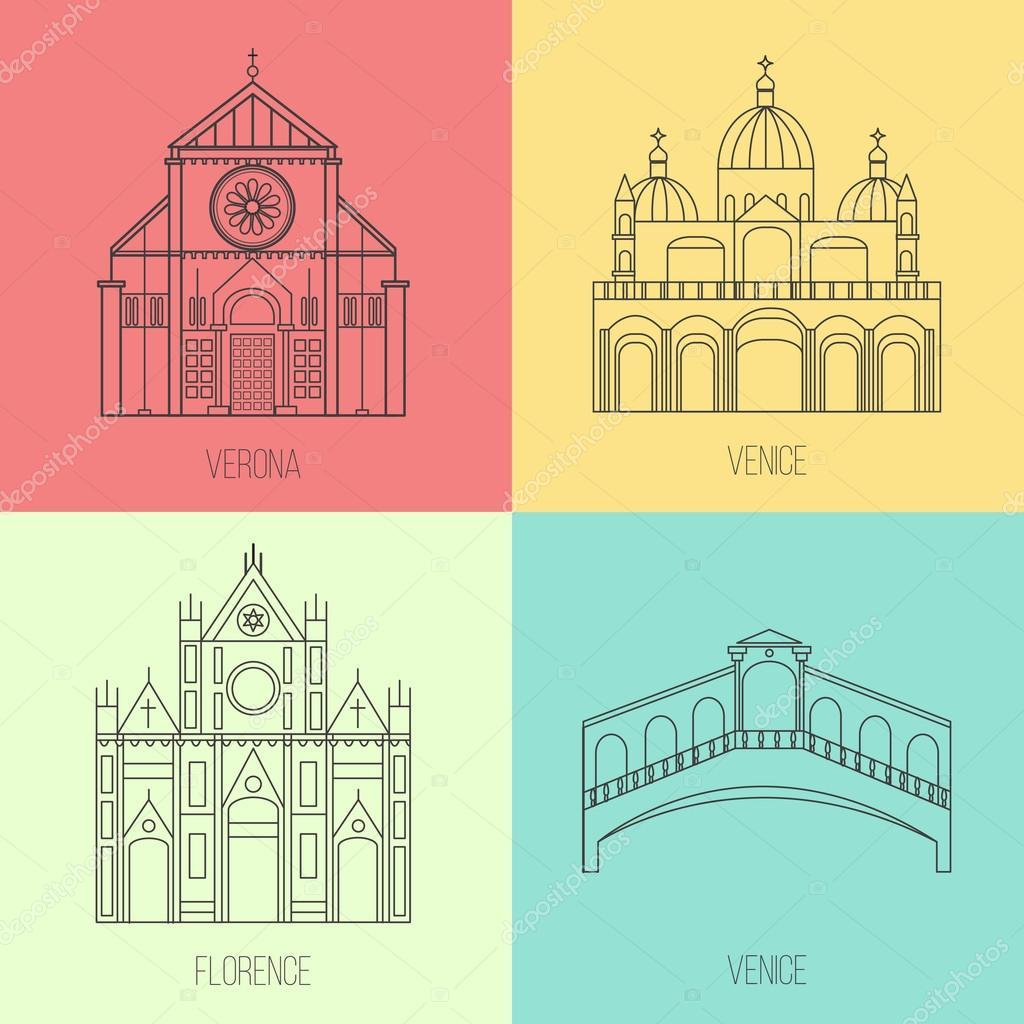 Coleção dos marcos italianos feito em vetor. Igreja de Santa Croce ...