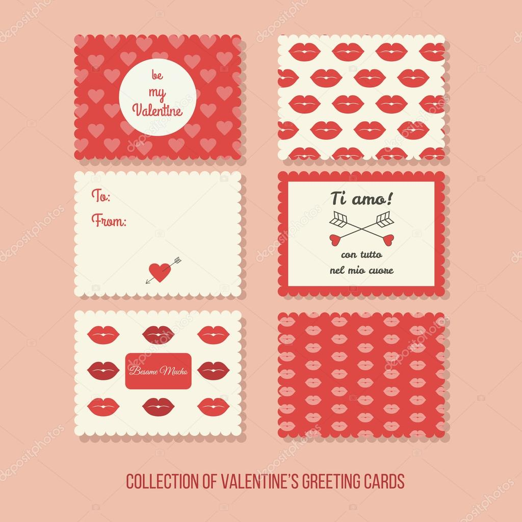 Valentines greeting cards with Italian phrase I love you with all – Valentines Cards in Spanish