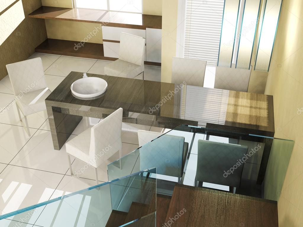 Moderne luxe interieur van de eetkamer in appartement u stockfoto