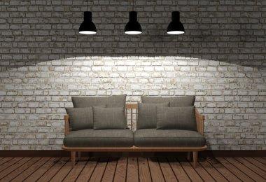 Room interior in minimal style in the dark