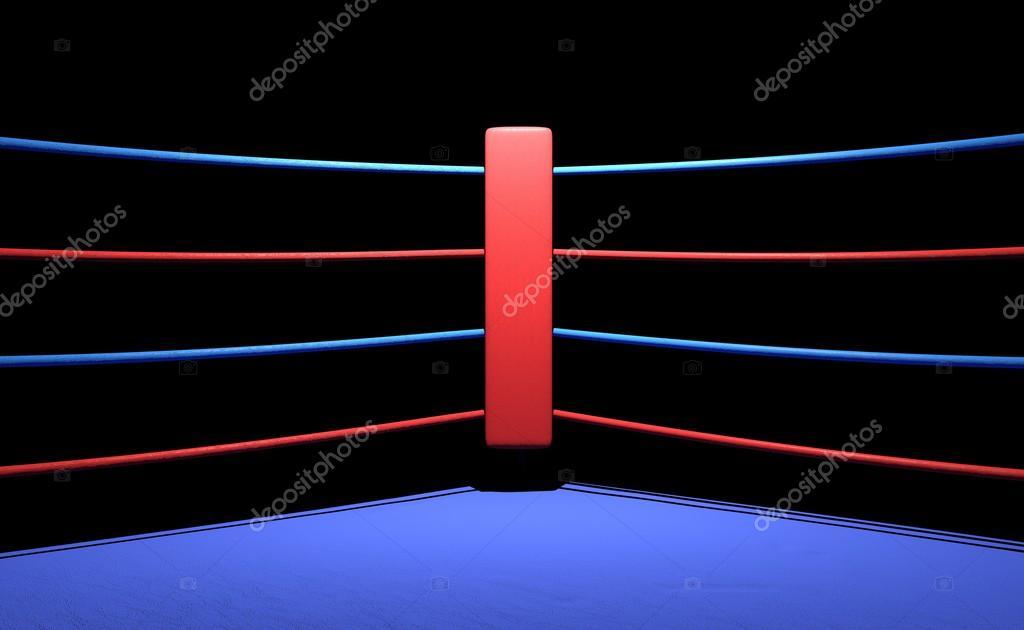 Esquina De Boxeo Anillo Rojo En Fondo Oscuro Foto De