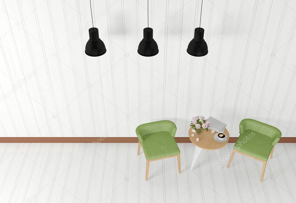 White Room Interior With Modern Furniture Top View Stock Photo