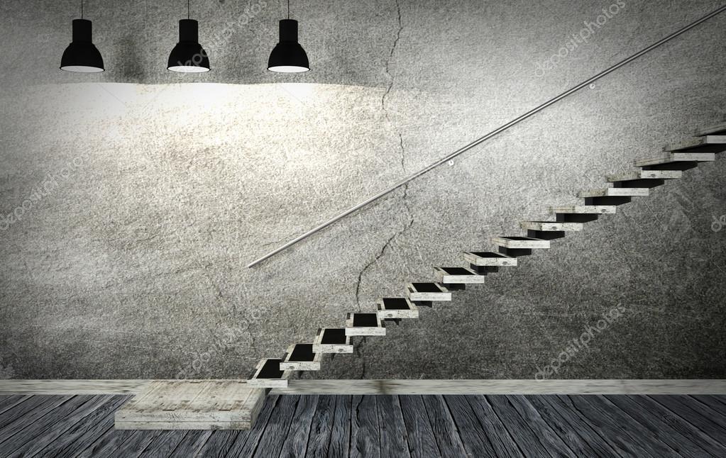 Donkere oude kamer en trap interieur in minimalistische stijl