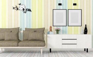 Colorful and modern interior with sofa, mock up poster and side table