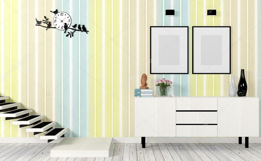 Moderne woonkamer interieur met trappen mock up poster en