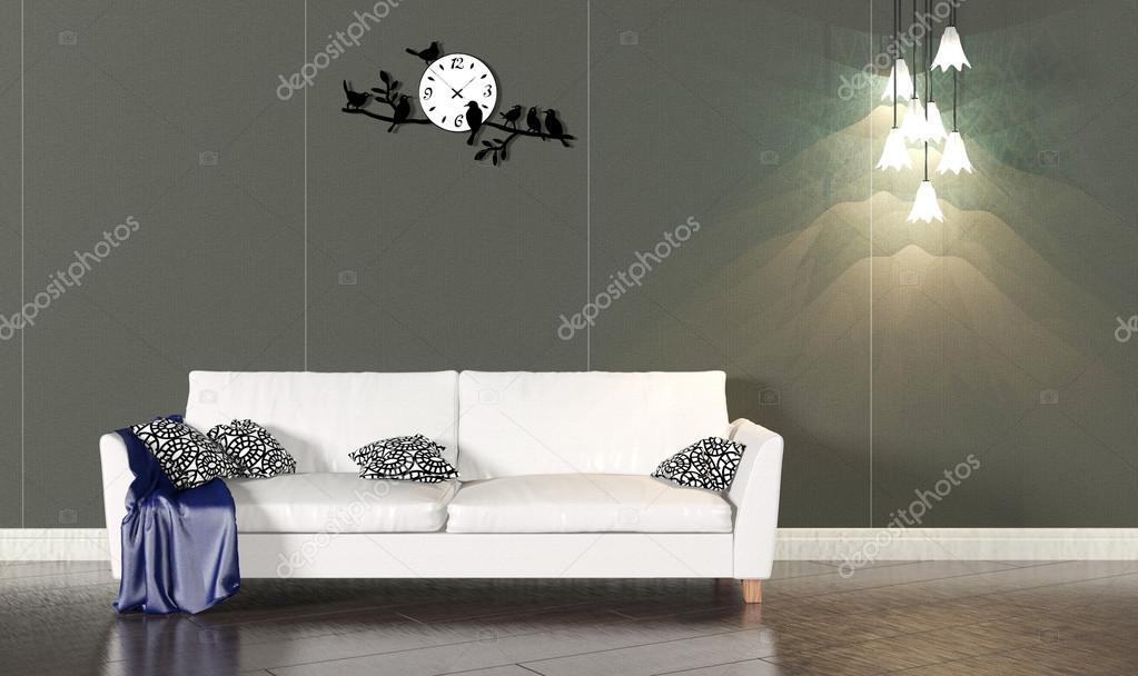 Woonkamer interieur met de witte Bank en donkere muur — Stockfoto ...