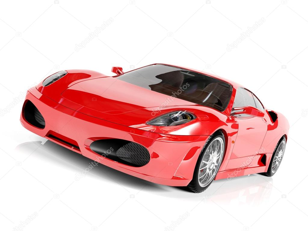 Red Sport Car On White Background U2014 Stock Photo