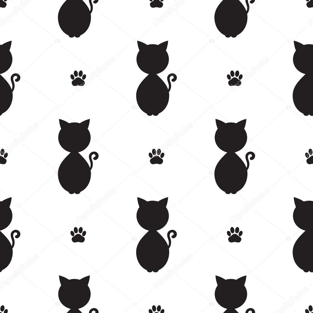 Geometryczny Wzór Bezszwowe Czarny Kot Grafika Wektorowa