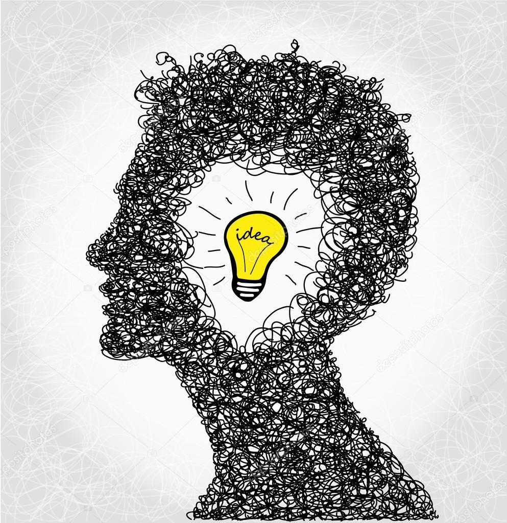 Thinking Person With Lightbulb Idea Stock Photo