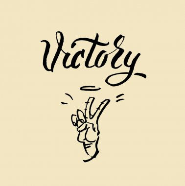 Victory word lettering