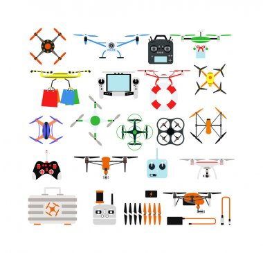 Quadrocopters drone helicopter toy vector illustration.