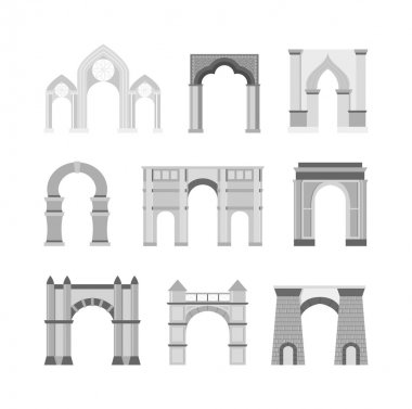 Arch vector set isolated on white