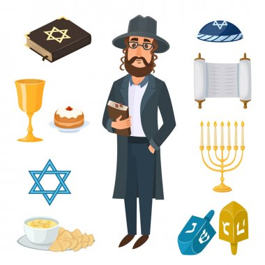 Judaism church traditional symbols icons set and jewish symbols isolated vector illustration. Jewish symbols traditional torah menorah and jewish symbols holiday hanukkah religious design. stock vector