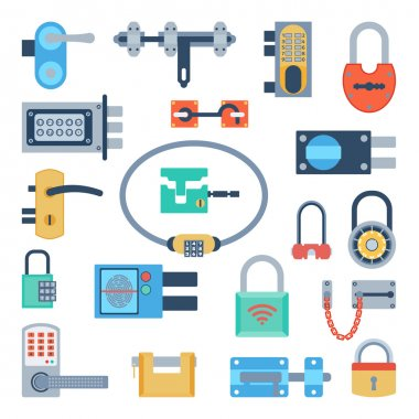 Lock icons set vector.
