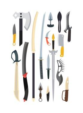 Knifes weapon vector illustration. Toy train vector illustration.