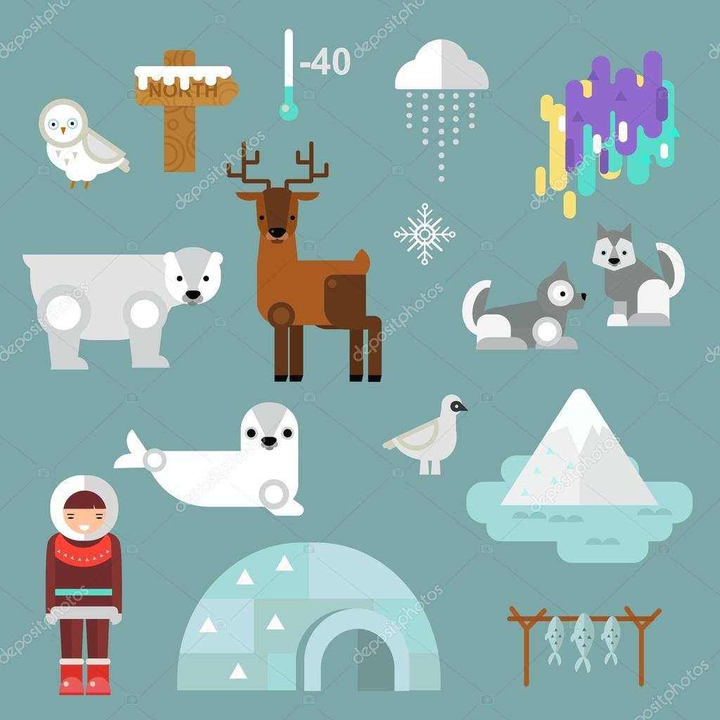Alaska symbols vector illustration.