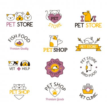 Pet shop symbols vector set.