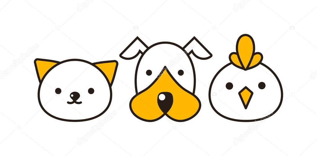 Cat, dog and bird vector illustration — Vetores de Stock