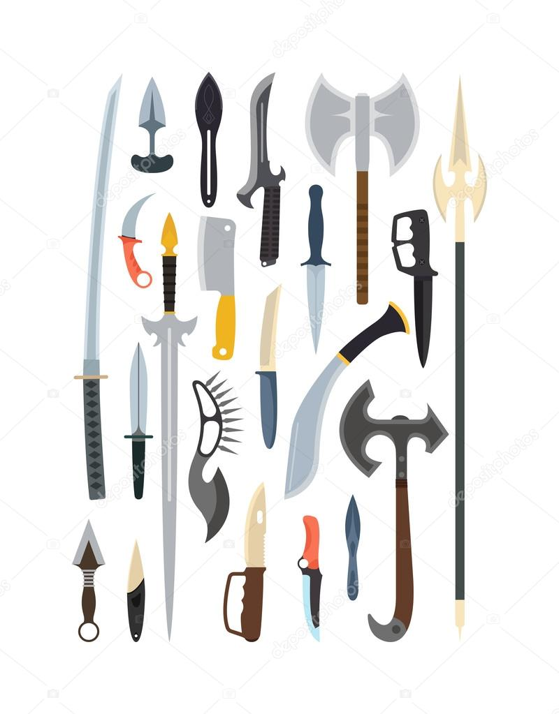Knifes weapon collection. Vector illustration of swords, knifes, axe, spear. Edged weapons vector weapon set. Combat knifes andbonder knives, bayonet knife, swat knifes. Cold steel arms. stock vector