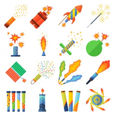Pyrotechnics and fireworks vector set.