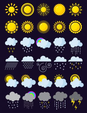 Mega pack of weather icons snow climate, sun forecast, rainy storm. Snowflake set wind moon cloud weather icons. Weather icons cloudy design sky nature temperature sunny, cold thunderstorm season. icon