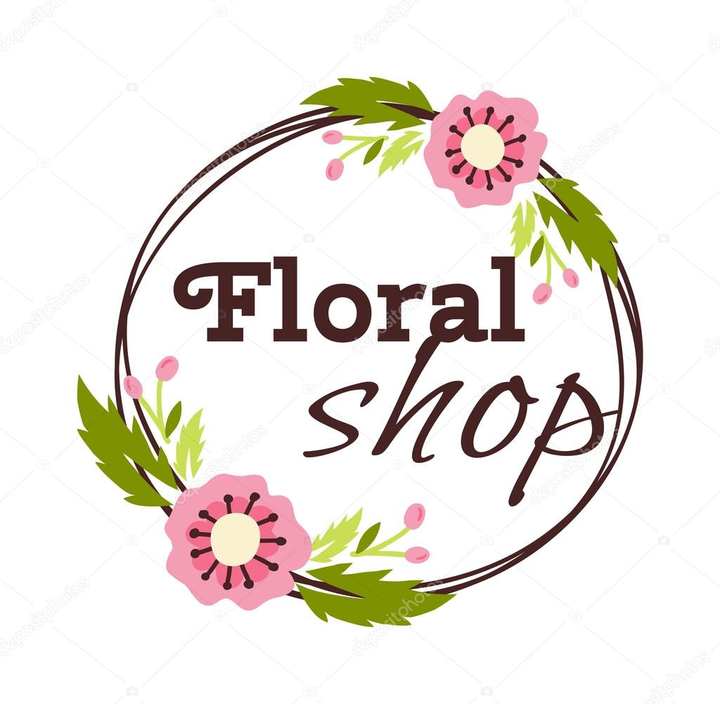 Flower shop logo vector illustration.