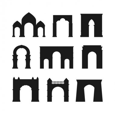 Arch vector set black silhouette