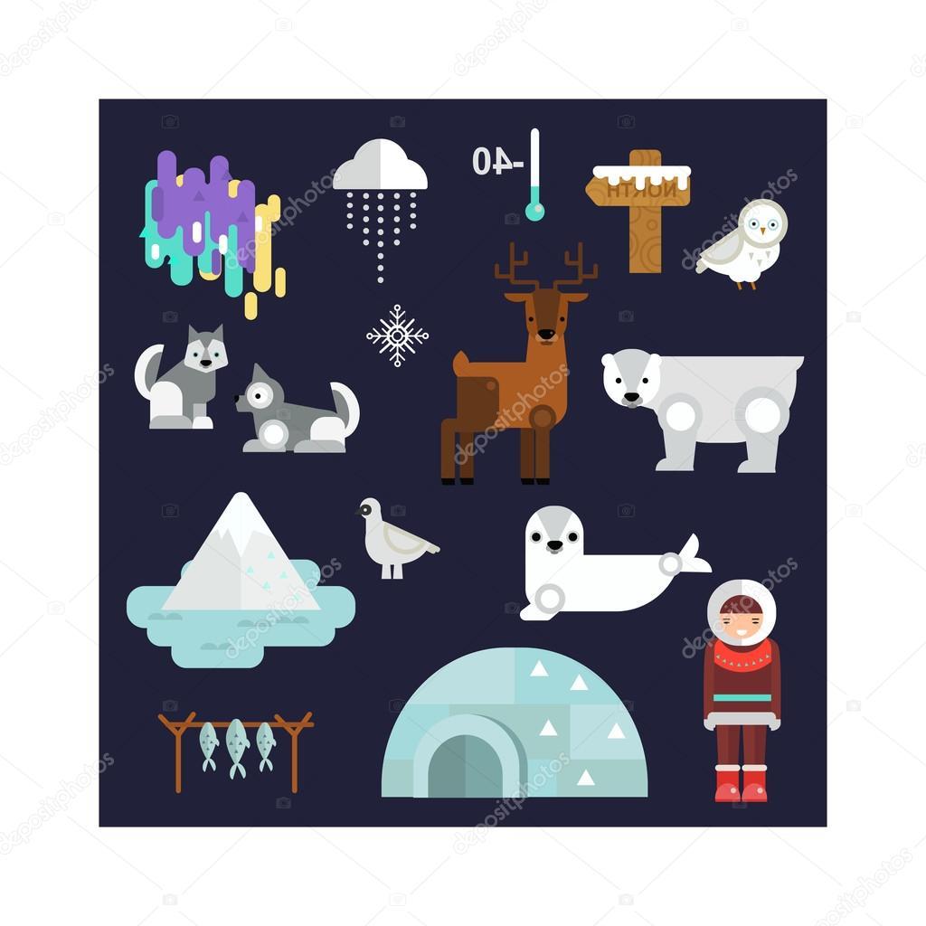 Alaska symbols vector illustration.
