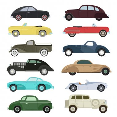 Retro car vector set.