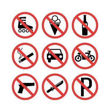 prohibiting signs set vector illustration