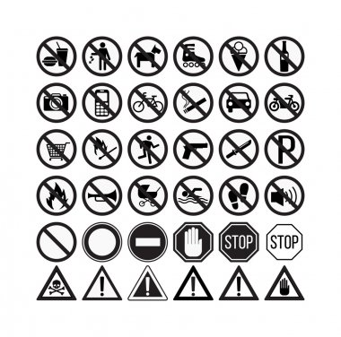 prohibiting signs set vector illustration