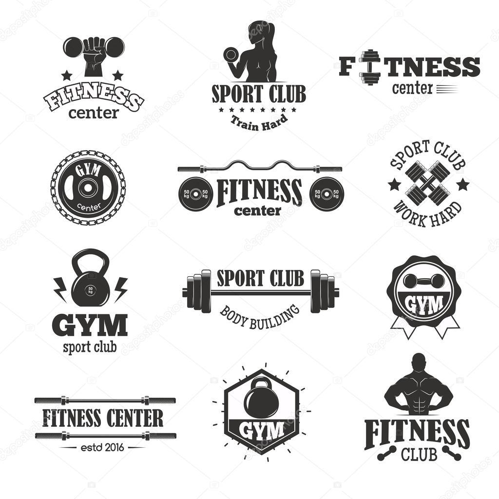 Gimnasio fitness s mbolos vector set vector de stock for Gimnasio fitness club