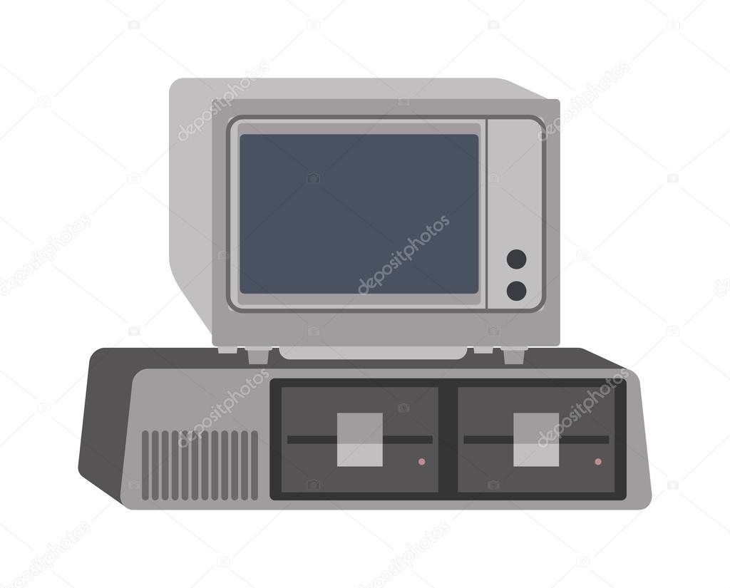 Ilustración de vector de computadora vieja — Archivo Imágenes ...