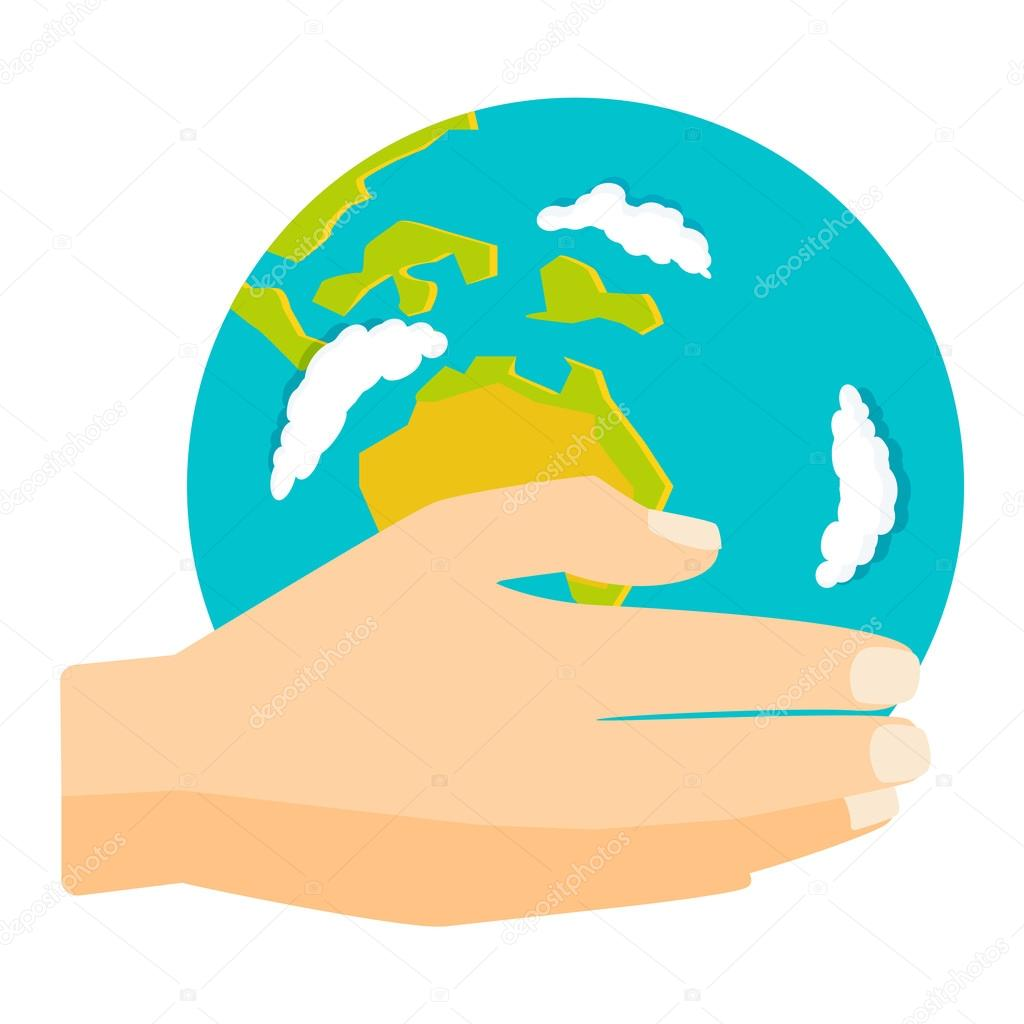 earth hands vector illustration stock vector luplupme gmail com rh depositphotos com Cupped Hands Vector Hand Outline Vector