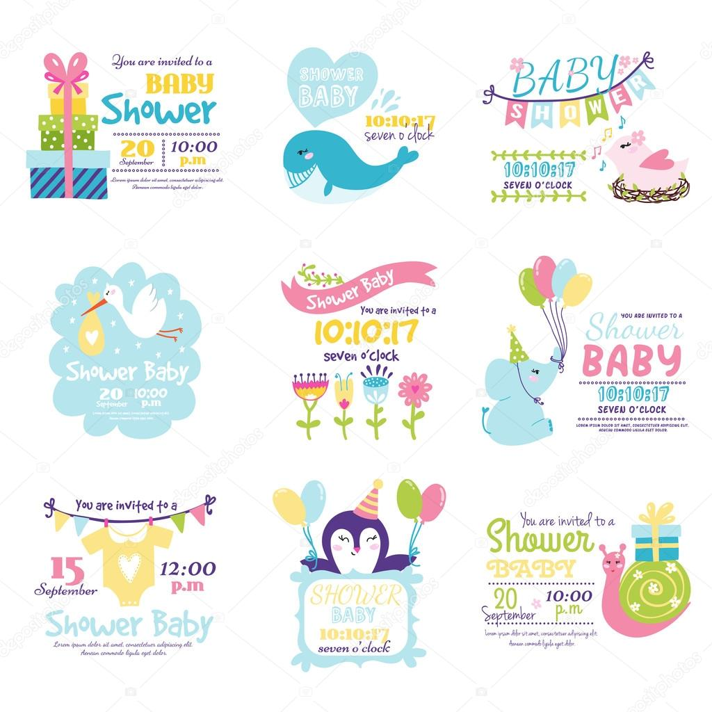 Baby shower invitation vector set vetores de stock luplupme baby shower invitation vector set stopboris Image collections