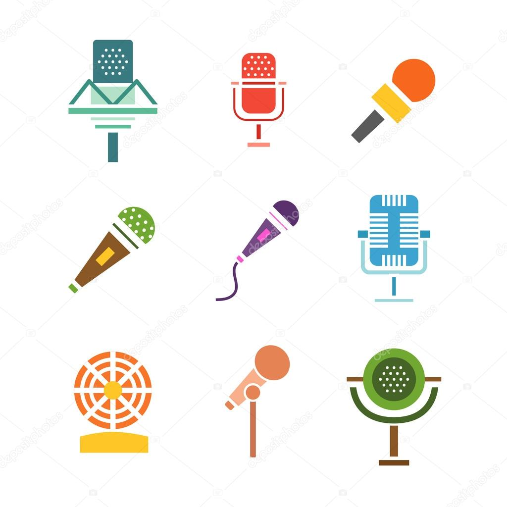 Different microphones vector icons vetor de stock luplupmeail different microphones types icons journalist vector microphone interview music studio web broadcasting microphone vocal tool tv show microphone ccuart Images