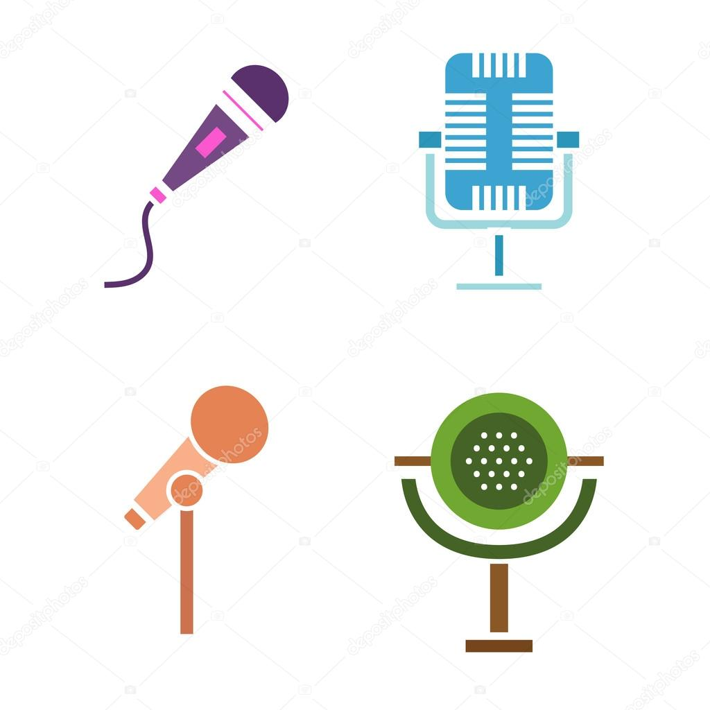 Different microphones vector icons vetores de stock luplupme different microphones types icons journalist vector microphone interview music studio web broadcasting microphone vocal tool tv show microphone ccuart Images