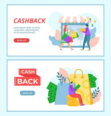 Money cashback to people, vector illustration. Internet business design web page, flat promotion for online customer set. Man woman character use commerce system, landing banner isolated on white. icon