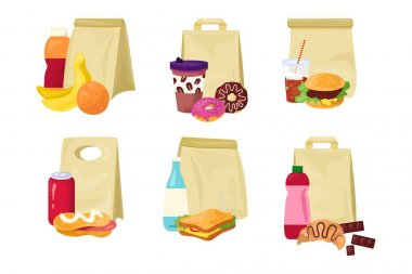 Meal food in paper bag, lunch box set, vector illustration. Snack, breakfast in pack collection, package container with sandwich isolated on white. Flat drink, product for work, school design. icon