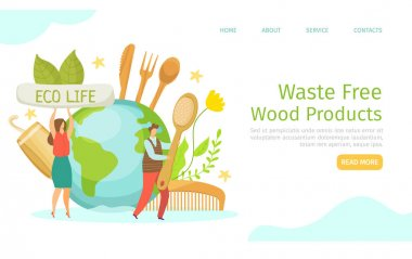 Waste free, eco wood products, vector illustration. Man woman people character use natural product, organic things with recycle ability, landing banner. Planet with eco friendly elements, web page. icon